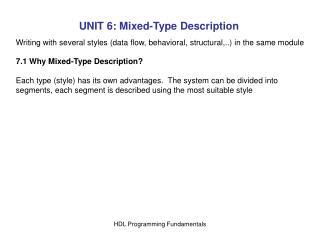 UNIT 6: Mixed-Type Description