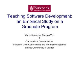 Teaching Software Development: an Empirical Study on a Graduate Program