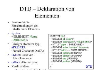 DTD – Deklaration von Elementen
