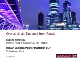 Cyprus et. al: Tax Look from Russia