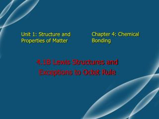 Unit 1: Structure and Properties of Matter