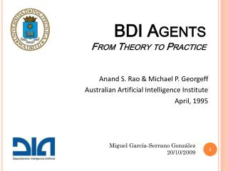 BDI  Agents From Theory to Practice
