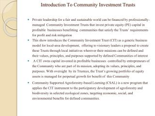 Introduction To Community Investment Trusts