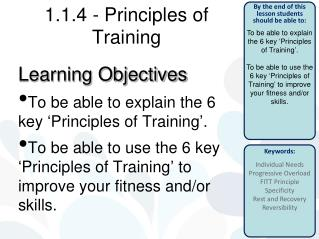 1.1.4 -  Principles of Training