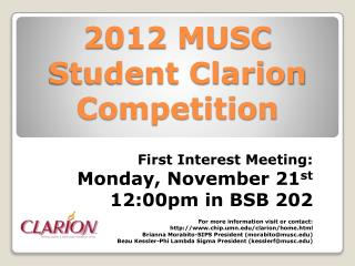 2012 MUSC Student Clarion Competition