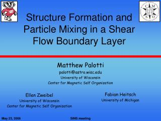 Structure Formation and Particle Mixing in a Shear Flow Boundary Layer