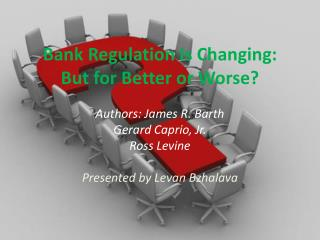 Bank Regulation Is Changing:  But for Better or Worse?