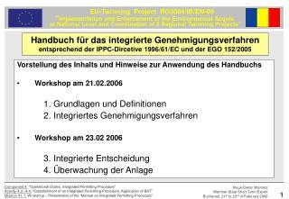 Vorstellung des Inhalts und Hinweise zur Anwendung des Handbuchs Workshop am 21.02.2006