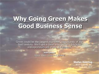 Why Going Green Makes Good Business Sense