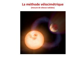 La méthode vélocimétrique (mesure de vitesse radiales)
