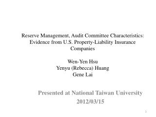 Presented at National Taiwan University 2012/03/15