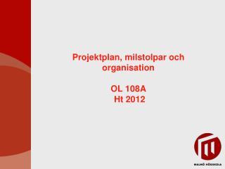 Projektplan, milstolpar och organisation OL 108A  Ht 2012
