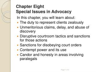 Chapter Eight Special Issues in Advocacy