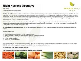 Night Hygiene Operative PW  Chattris £  competitive plus  excellent benefits