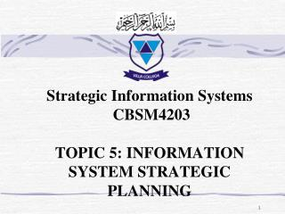 Strategic Information Systems  CBSM4203  TOPIC 5: INFORMATION SYSTEM STRATEGIC PLANNING