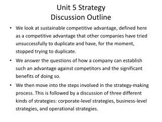 Unit 5 Strategy Discussion Outline
