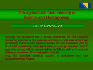 The agricultural food industry in  Bosnia and Herzegovina