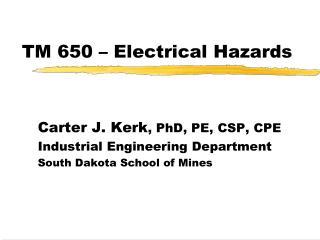 TM 650   Electrical Hazards