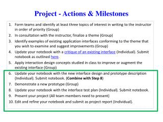 Project - Actions & Milestones