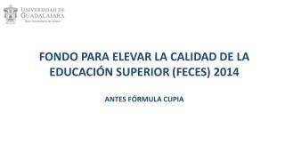 FONDO  PARA ELEVAR LA CALIDAD DE LA  EDUCACIÓN SUPERIOR  (FECES ) 2014  ANTES FÓRMULA CUPIA