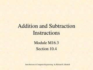 Addition and Subtraction Instructions