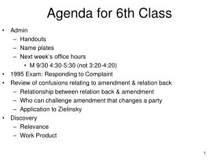 Agenda for 6th Class