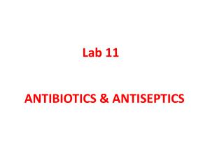 ANTIBIOTICS & ANTISEPTICS