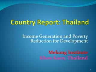 Country Report: Thailand