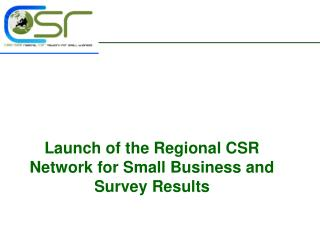 Launch of the Regional CSR Network for Small Business and Survey Results