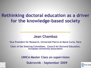 Chair of the Steering Committee,  Council for Doctoral Education, European University Association