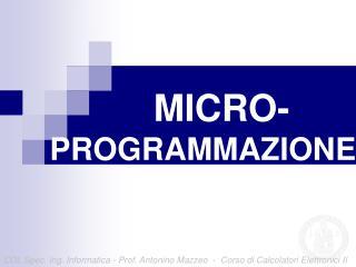 MICRO- PROGRAMMAZIONE