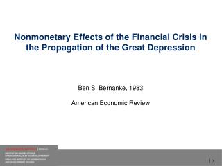 Nonmonetary Effects of the  Financial  Crisis  in  the  Propagation  of the  Great Depression