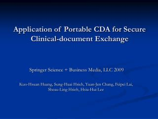 Application of Portable CDA for Secure Clinical-document Exchange
