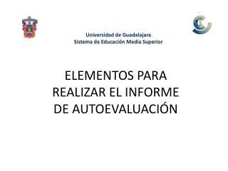 ELEMENTOS PARA REALIZAR EL INFORME DE AUTOEVALUACIÓN