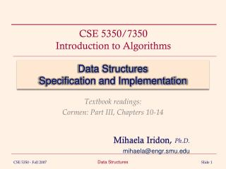 Data Structures Specification and Implementation