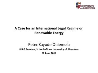 A Case for an International Legal Regime on Renewable Energy
