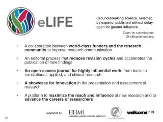 Open for  submissions @  elifesciences