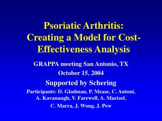 Psoriatic Arthritis: Creating a Model for Cost-Effectiveness Analysis