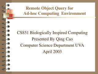 Remote Object Query for              Ad-hoc Computing  Environment
