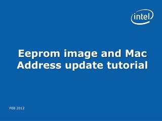 Eeprom image and Mac Address update tutorial