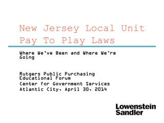 New Jersey Local Unit Pay To Play Laws