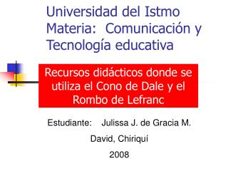 Universidad del Istmo Materia:  Comunicaci n y Tecnolog a educativa