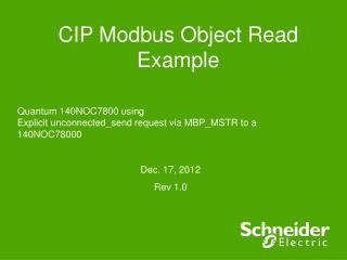 CIP Modbus Object Read Example