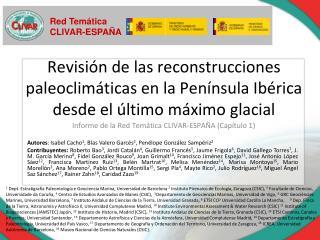 Revisi n de las reconstrucciones paleoclim ticas en la Pen nsula Ib rica desde el  ltimo m ximo glacial