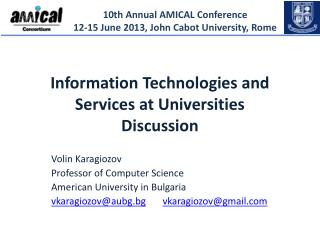 Information  Technologies and  Services  at  Universities Discussion