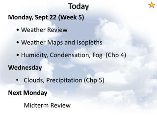 Monday, Sept 22 (Week 5)  Weather Review  Weather Maps and  Isopleths