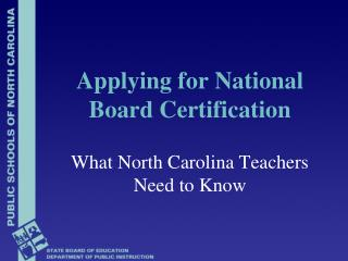 Applying for National Board Certification