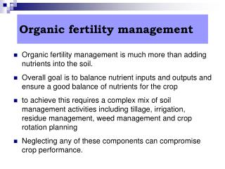 Organic fertility management