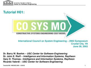 International Council on System Engineering   2003 Symposium Crystal City, VA June 30, 2003
