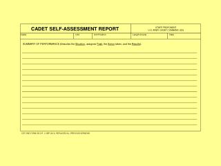 CADET SELF-ASSESSMENT REPORT